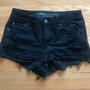Black Hi Rise Festival American Eagle Jean Shorts